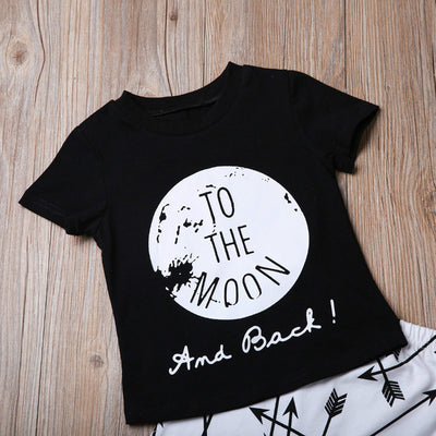 Baby Boys Girls Fashion Clothes Set 2 pieces Letter To the moon Shirt Arrow Pants Simple Baby Short O-Neck Clothes Set