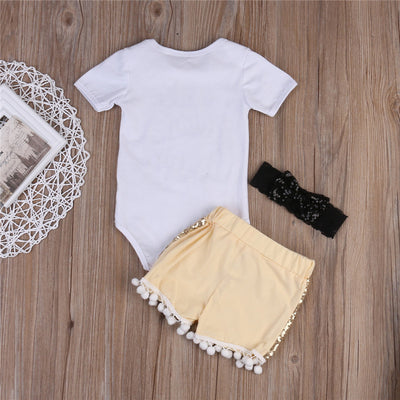 3pcs Newborn Baby Boy Girls Clothes Short Sleeve Tops Bodysuit  Pants Lace Headband Outfits