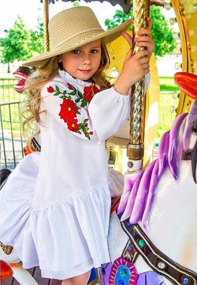 Kids Baby Girls Princess Embroidery Flowers Dress Party Formal White A-Line Dress Fashion Cute Clothes