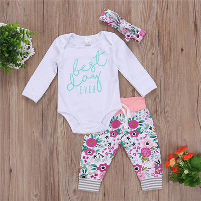 Cotton letter Tops Romper Floral Pants Newborn Baby Boys Girls new arrival fashion Outfits Set Clothes