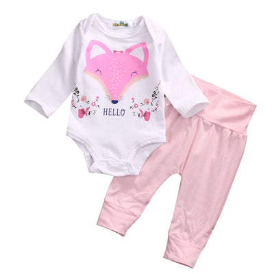 2 Pcs suit Newborn Infant Baby Girls Fox Romper Tops Pants Outfit Clothes Set