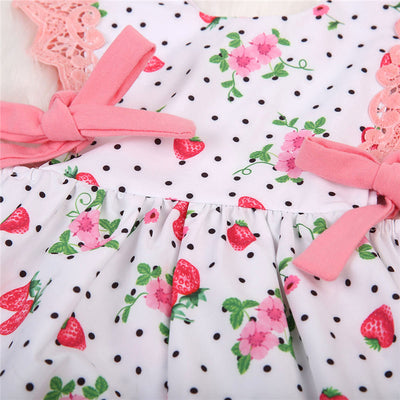 Adorable Baby Girls Strawberry Romper Pink Jumpsuit Outfits Clothes Summer Sunsuit