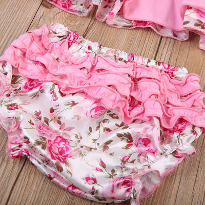 3PCS Infant Baby Girls Floral Ruffle Outfits Clothes Pink Lace Strap Sleeveless Tops Bottom Shorts Headband Outfit Clothes Set