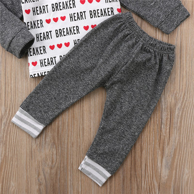 Baby Boy Clothing Set New Kid Toddler Baby Boy Long Sleeve Hoodie Heart Breaker Top Long Leggings Pant Outfits Clothes Set