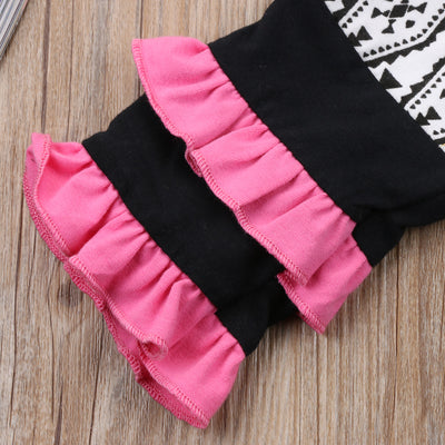 3PCS Baby Kid Girls Letters Print Clothes Set Black Tops T-shirt Ruffles Leggings Long Pants Headband Outfits Spring Clothing