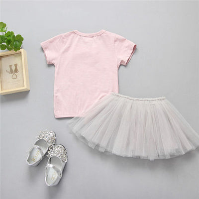 2Pcs Newborn Kids Baby Girls Rabbit Print Short Sleeveless Pullover T shirt Tops  Skirts Outfit