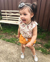 2pcs Toddler Kid Baby Girl Summer Casual Clothes Floral Print Round Neck T Shirt Tops Shorts Outfits Set