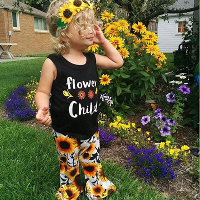 2 PCS Floral Toddler Kids Baby Girl Outfit Clothes Letter Tank Tops Sun Flower Pattern Trousers Leggings Set