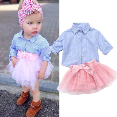 2Pcs Kids Baby Girls Princess Stripe T shirt Top Lace Mesh Skirt Outfit Set Clothes Summer Fashion Sets