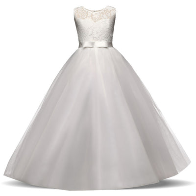 Flower Girl Bow Tulle Lace Formal Dress