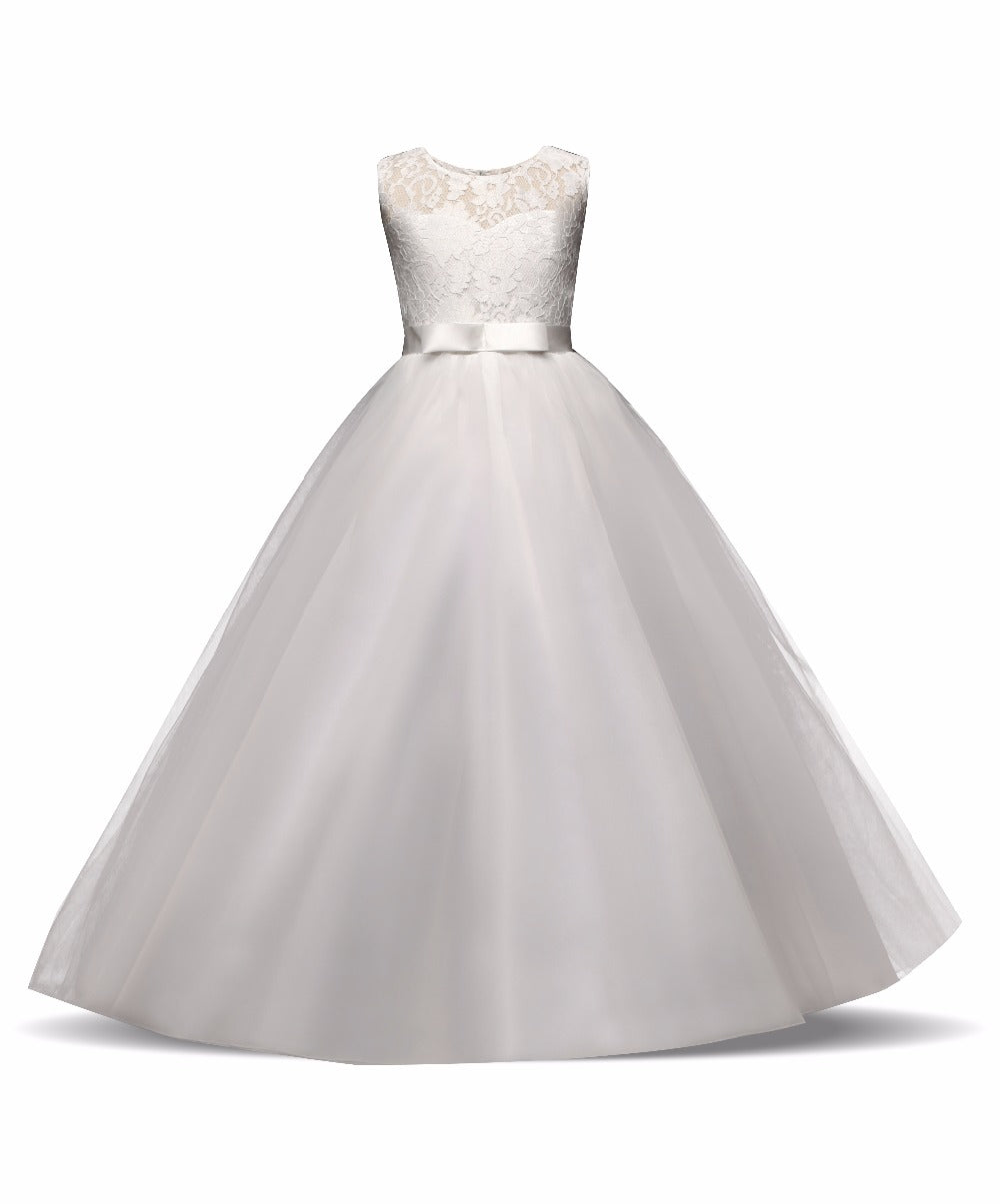 Flower Girl Dresses With Bow Tulle Lace Formal Ball Gown First