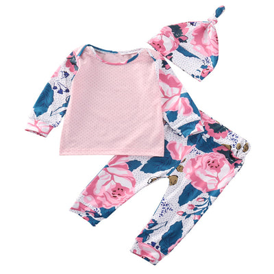Newborn Baby Girl Long Sleeve Tops Floral Pants Hat new arrival fashion Outfits Set Clothes