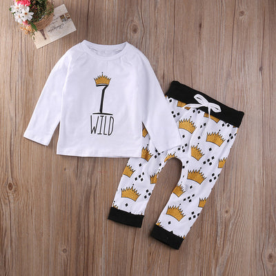 Long Sleeve Crown T-shirt Pants Newborn Baby Girl Boys new arrival fashion Outfits Set Clothes