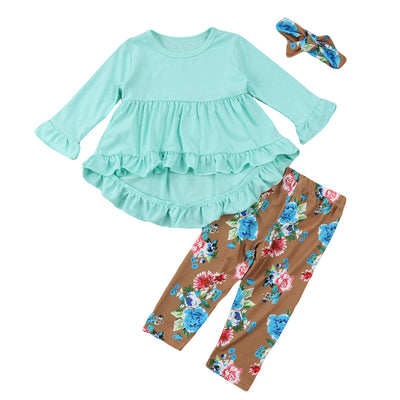 Baby Girl Clothes Set Fashion Toddler Kids Baby Girls Tops Mini Dress Flower Pants Legging Outfits Baby Girl Clothing