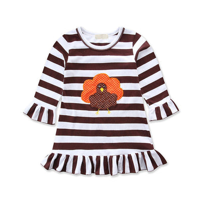 Baby Girls Striped Dresses  New Hot Kid Girl Long Sleeve Party Pageant Dresses Kid Turkey Print Dress For Girls