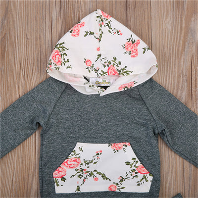 Newborn Baby Boy Girl Kids Hooded Floral Tops Long Pants new arrival fashion Outfit Clothes Set