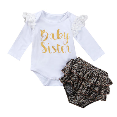 2PCS Newborn Baby Cotton Clothes Set Newborn Baby Girls Top Long Sleeve Romper Shorts  New Arrival Outfit Clothes