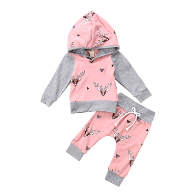 2Pcs Baby Deer Print Clothing Set Christmas Clothes Newborn Boy Girl Long Sleeve Hooded Tops Pants Outfits Baby Pink Clothes Set