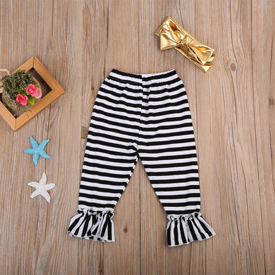 3PCS Baby Girl Short Sleeve Top T-shirt Striped Pants Headband Children Cotton Clothes New Arrival Outfits Clothes Set