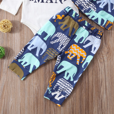Baby Boy Elephant Print Clothing Set Newborn Long Sleeve Romper Top Pants 3pcs New Year Costumes Baby Boys Cotton Clothes Set