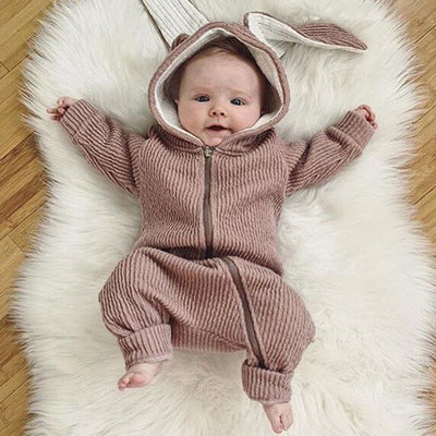 Autumn Winter Infant Baby Girl Long Sleeve Outfits Zipper Romper Toddler Kids Cute Rabbit Jumpsuit Clothing