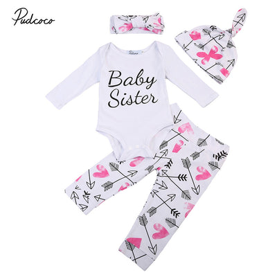 Newborn Baby Cotton Clothes Set Infant Baby Girls Long Sleeve Romper Arrow Pants New Arrival Fashion
