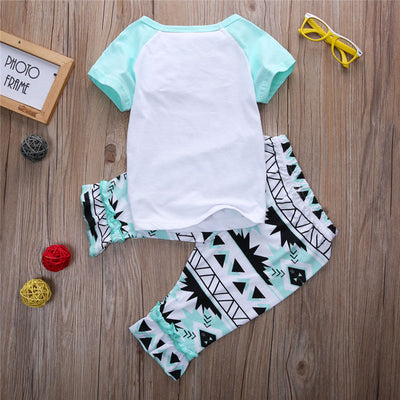 2pcs Letter T-shirt Top Long Pants  New Children Clothes Set Kids Baby Girl Outfit Clothes Trousers Casual Green Shorts
