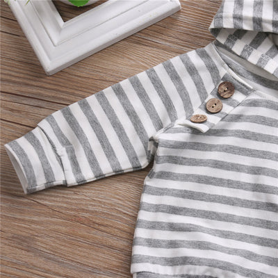 Baby Boy Girl Hoodie Striped Tops Pants Newborn Infant Kids Baby Boy Girl Clothes 2Pcs Outfit Clothes New Arrival Set