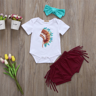 3pcs Set Baby Girl Clothes Newborn Baby Girl Feather Tops Romper Tassels Pants Bottoms Headband  Clothing Set