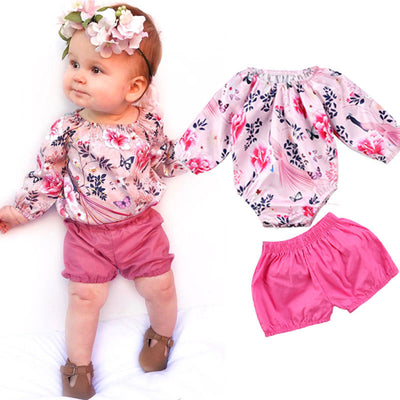 Newborn Baby Girl Clothes Long Sleeve Floral Romper Bodysuit Tops Baby Shorts Bottom 2PCS Outfit Bebek Clothing