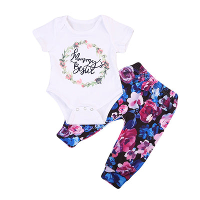2Pcs Newborn Infant Baby Girl Clothing Set Cotton Flower Print  New Arrival Summer Romper Pants Baby Sets Girl Clothes