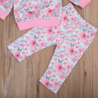 Autumn Toddler Kids Girl Floral Clothes Set Long Sleeve Tops Long Pants Leggings Headband 3pcs  New Hot Outfits Clothing Set
