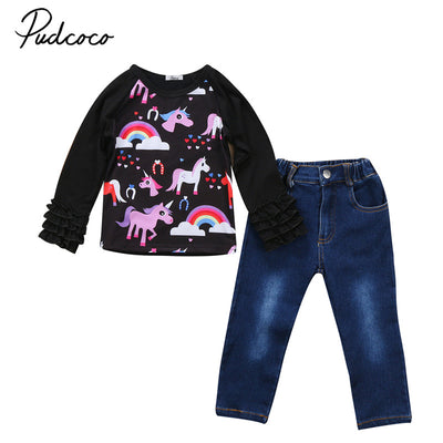 Autumn Children Girls Unicorn Clothes Set Long Sleeve Pullover Tops+Denim Pants 2PCS  New Outfit Toddler Kids Clothing Sets