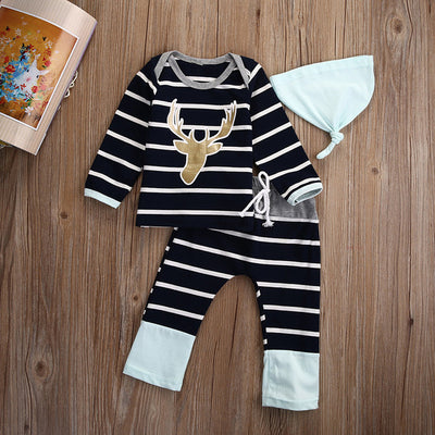 3pcs Newborn Baby Boy Girl Clothes Set Long Sleeve Cotton Striped Top T-shirt Pants Hat Outfits Kids Clothing Set