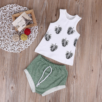 2pcs Hot Summer Kids Baby Girls Tank Top T-shirt Short Pants Baby Girls Clothes  New Outfits Clothes Sets