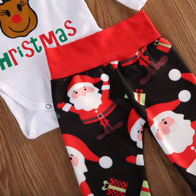 3PCS Christmas Clothing Set Infant Baby Girls Boys Romper Tops Pants Outfits Clothes Baby Halloween Gift