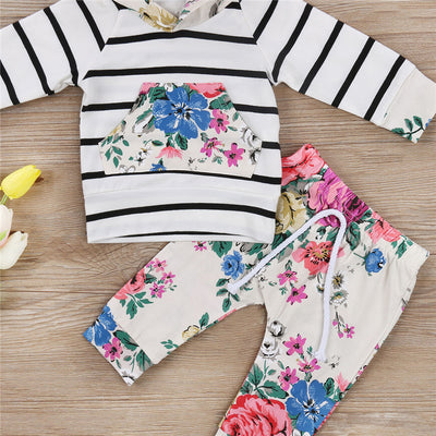 Newborn Infant Baby Girls Hooded Cotton Tops T-shirt Pants Baby Girls Floral Clothes  New Arrival Outfits Set