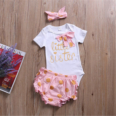3PCS Newborn Infant Baby Girls Romper Dot Shorts Newborn Baby Clothes New Arrival Jumpsuit Outfits Clothes Set