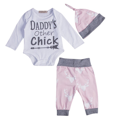 3PCS Baby Boy Girl Clothes Set Newborn Baby Romper Letter Tops Pants Leggings Hat New Arrival Fashion Outfits Set