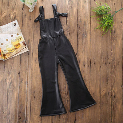 New Fashion Leather Bodysuit For Girls Baby Girls Long Pants Jumpsuit Cute Baby Clothing