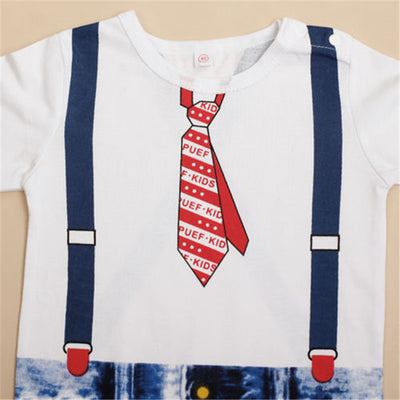 Baby Boys Kids Tie Printed Romper Boy Overalls Costume Suit Growing Outfit New Cartoon Romper Pants One-Piece Clothes