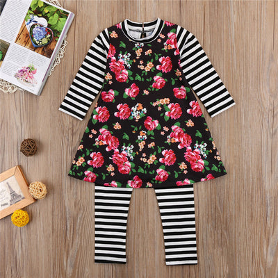 2pcs Set Fashion Children Clothing Spring Autumn Kids Baby Girls Long Sleeve T-shirt Tops Pants Newborn Baby Girl Floral Clothes