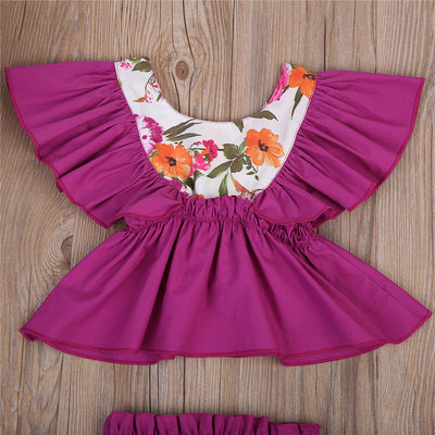 2PCS Ruffles Newborn Baby Clothes Set Summer Princess Girls Floral Dress Tops Baby Bloomers Shorts Bottom Outfits