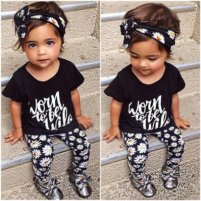 3pcs Children Clothes Set Baby Girl Summer Letter Print T-shirt Top Floral pants headbands New Outfits Clothes Set