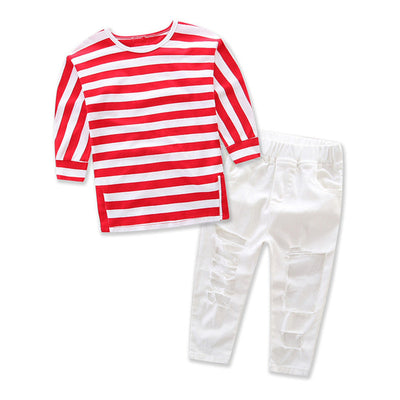 2pcs Children Clothing Set Baby Girls Kids Autumn Casual Striped Tops Shirt Ripped Denim Pants  New Hot Outfits Clothes Set