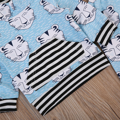 2PCS Baby Boys Girl Clothes Set Newborn Baby Hooded Long Sleeve Striped Tops Coat Pants Leggings New Autumn Outfit Set