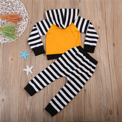 2PCS Children Striped Clothes Set Newborn Baby Unisex Pocket Deer Cotton Hooded Long Sleeve Tops Pants  New Outfits Set
