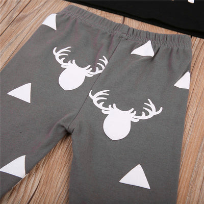 3PCS Newborn Infant Baby Boys Long Sleeve Deer Print Tops Pants Hat Baby Boys Clothes New Arrival Outfits Clothes Sets