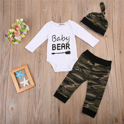 Baby Boy Cotton Clothes Set 3pcs Fall Newborn Baby Boy Bodysuit Camouflage Pants Cap New Arrival Fashion Outfits