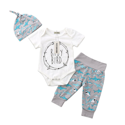 3Pcs Boys Clothing Sets Casual Newborn Infant Baby Boy Girl Short Sleeve Shark Bodysuit Jumpsuit Pants Hat Outfits Clothes Sets